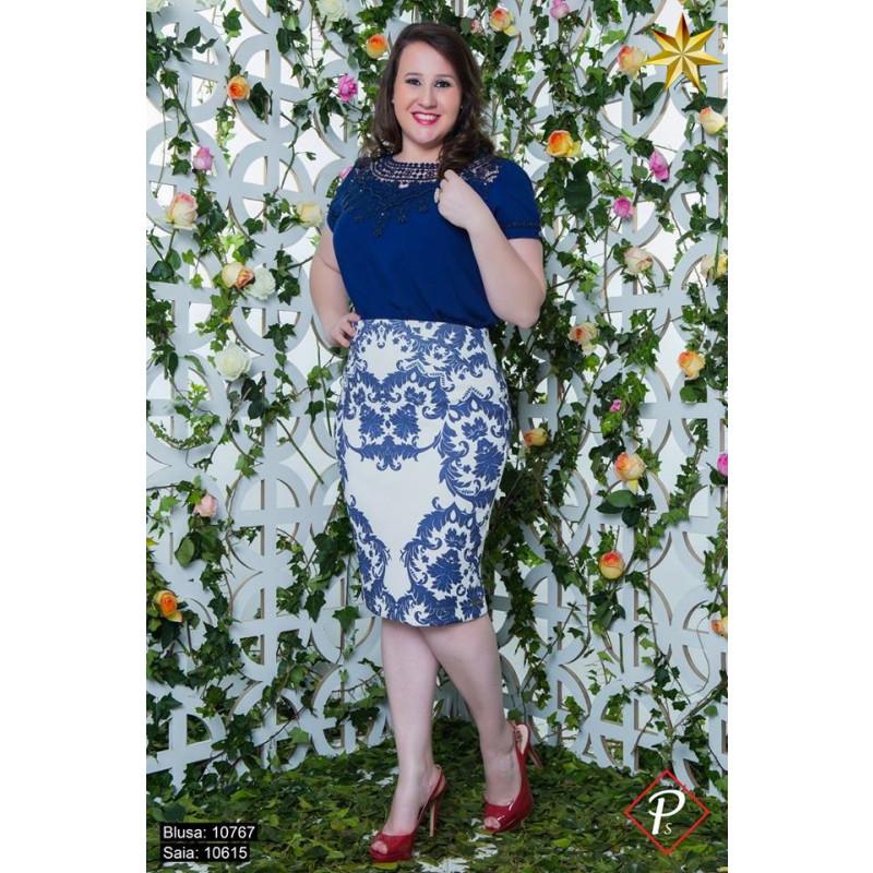 d8718434e7 ... Blusa Renda Azul Puro Sharmy 10767 Primavera Verão 2017. Passe ...
