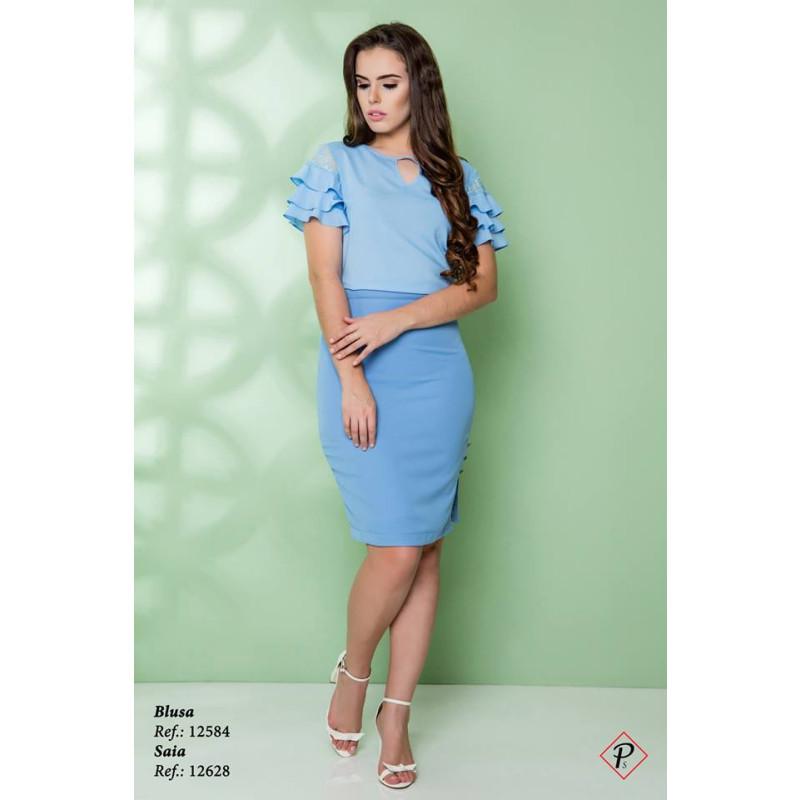 3648c6f573 Blusa Detalhe Renda Azul Puro Sharmy