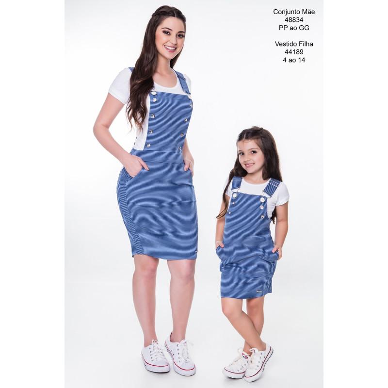 040c43def Jardineira Listrada Azul Mãe Hapuk