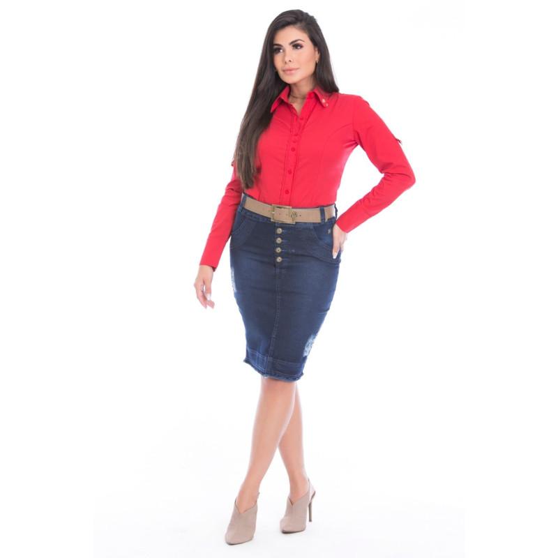 06dcc75270 Saia Jeans com Botoes Via Tolentino