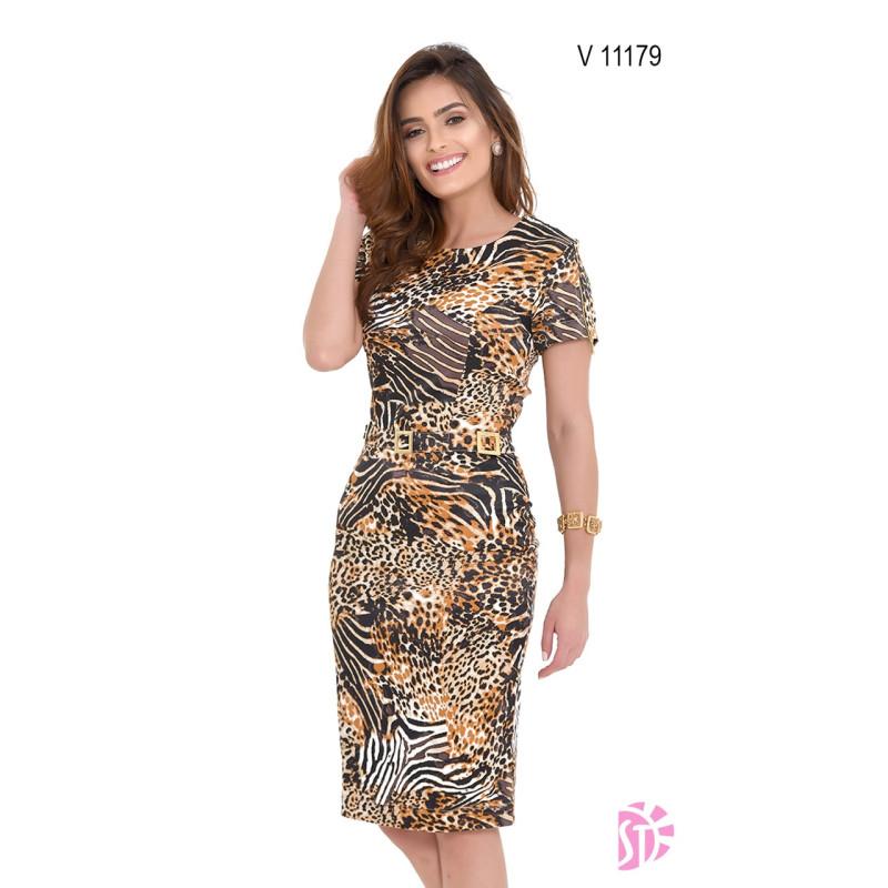 Vestido Animal Print Sol Da Terra Outonoinverno 2019