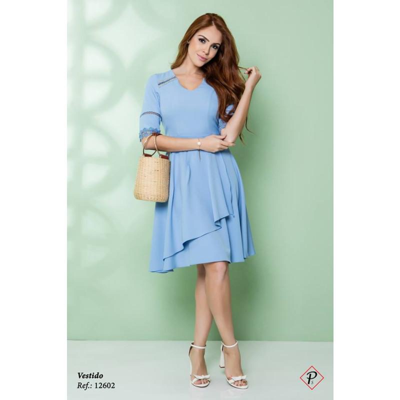 ad0f229a6e Vestido Bordado Azul Puro Sharmy