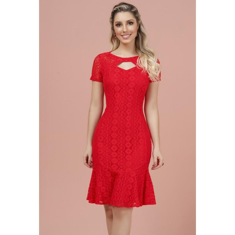 ca61cb5119 Vestido em Renda Vermelho D azul