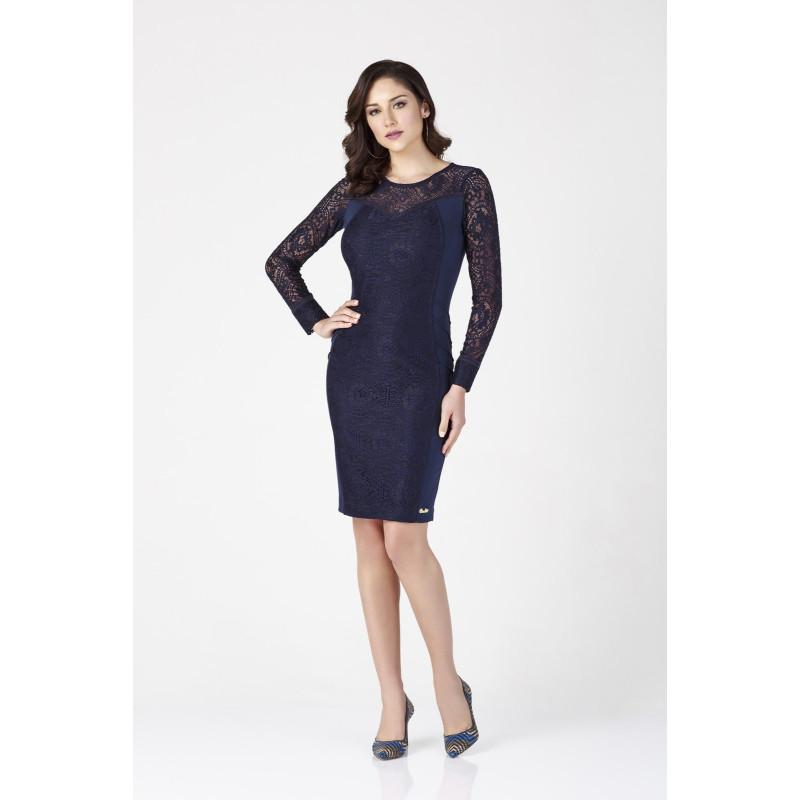 Vestido azul renda manga longa