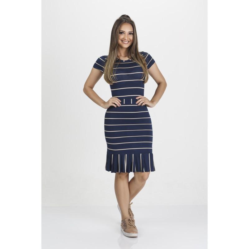 1c0251f864ca Vestido Barra Plissada Azul Tata Martello