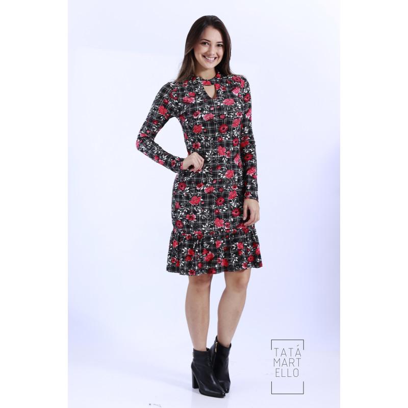 Vestido Tata Martello Floral Xadrez Preto 0193 79ebd9cd57b
