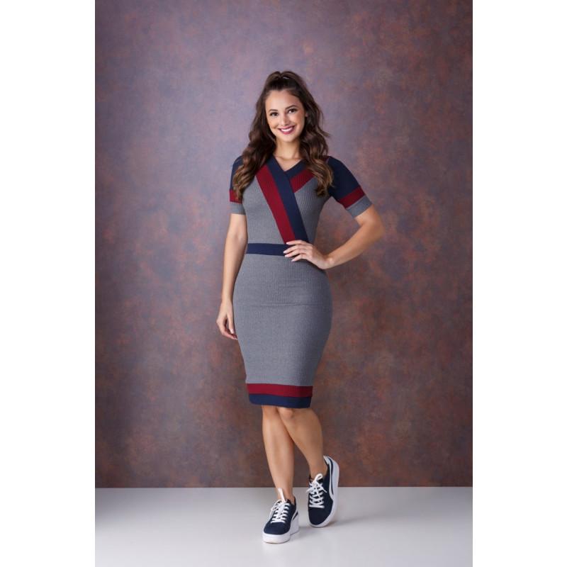 8df47955f7 Vestido Tricolor Cinza Tata Martello