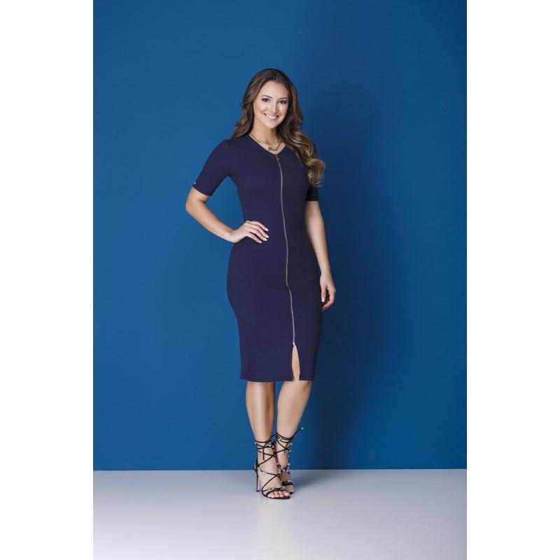 50dde48908 Vestido Tubinho com Zíper Azul-Marinho