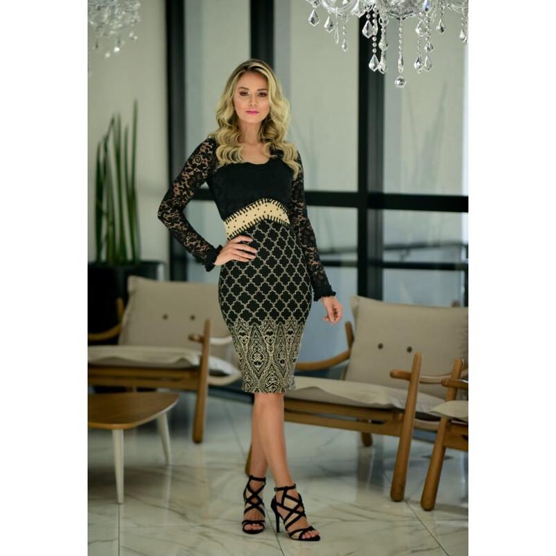 f5ce76c275cd Vestido Tubinho Detalhe em Renda Maria Amore