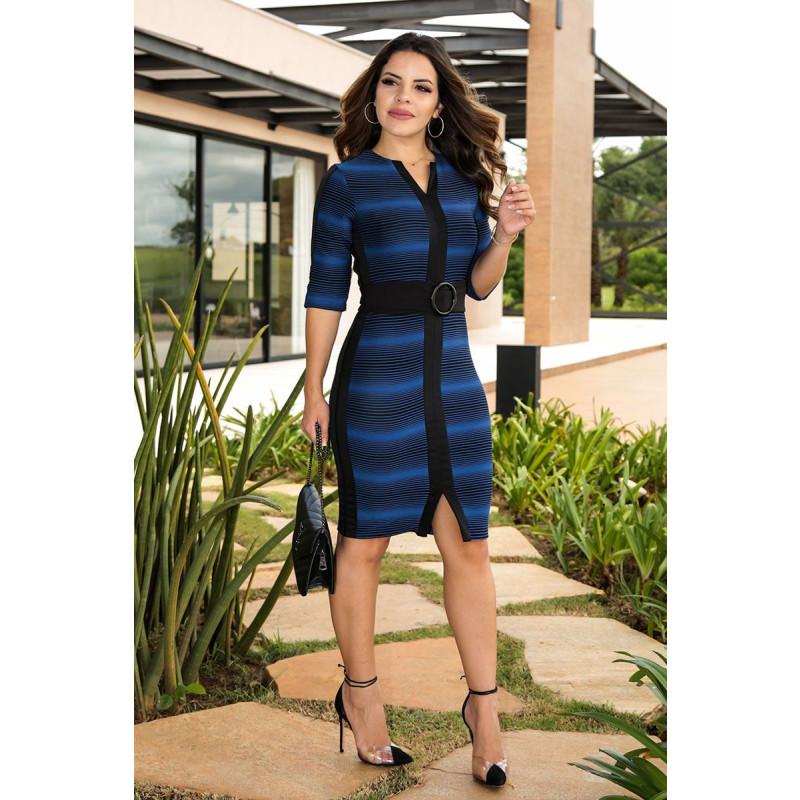 cc607b738 Vestido Tubinho Listrado Azul Luciana Pais