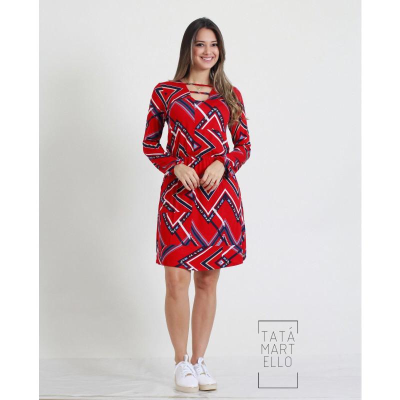 bfd062751 Vestido Tata Martello Estampa Geométrica Red 0112