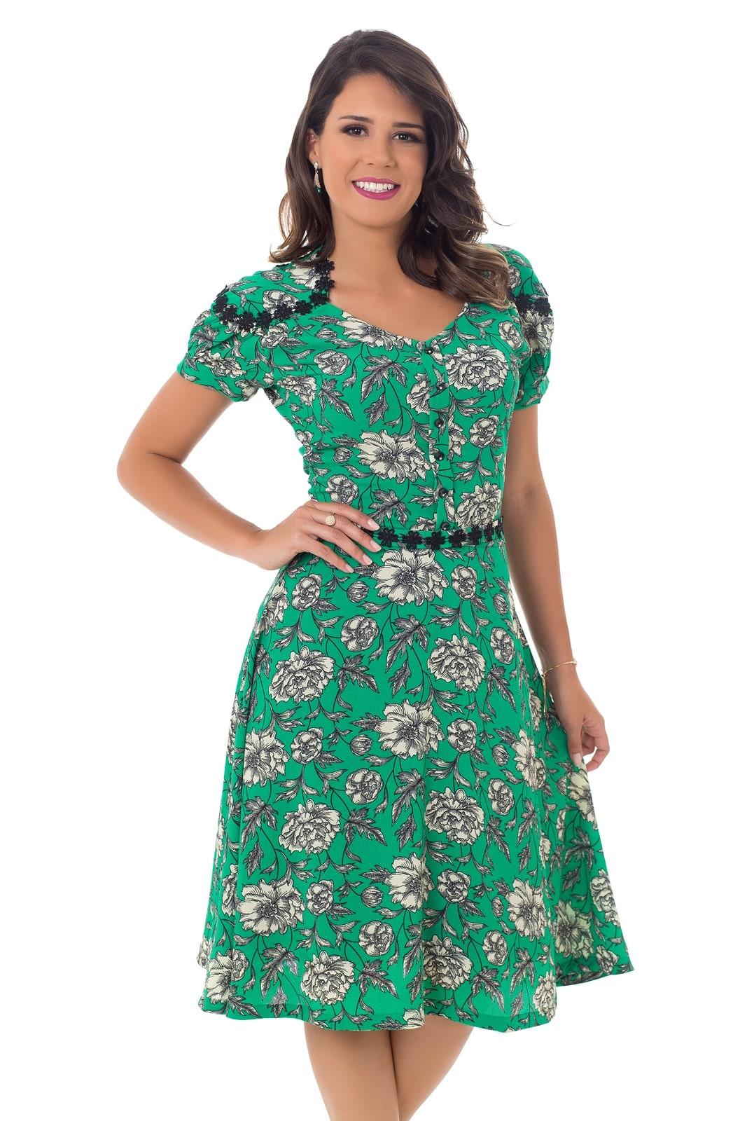 be61daba59 Vestido Crepe Estampado Verde Bella Herança