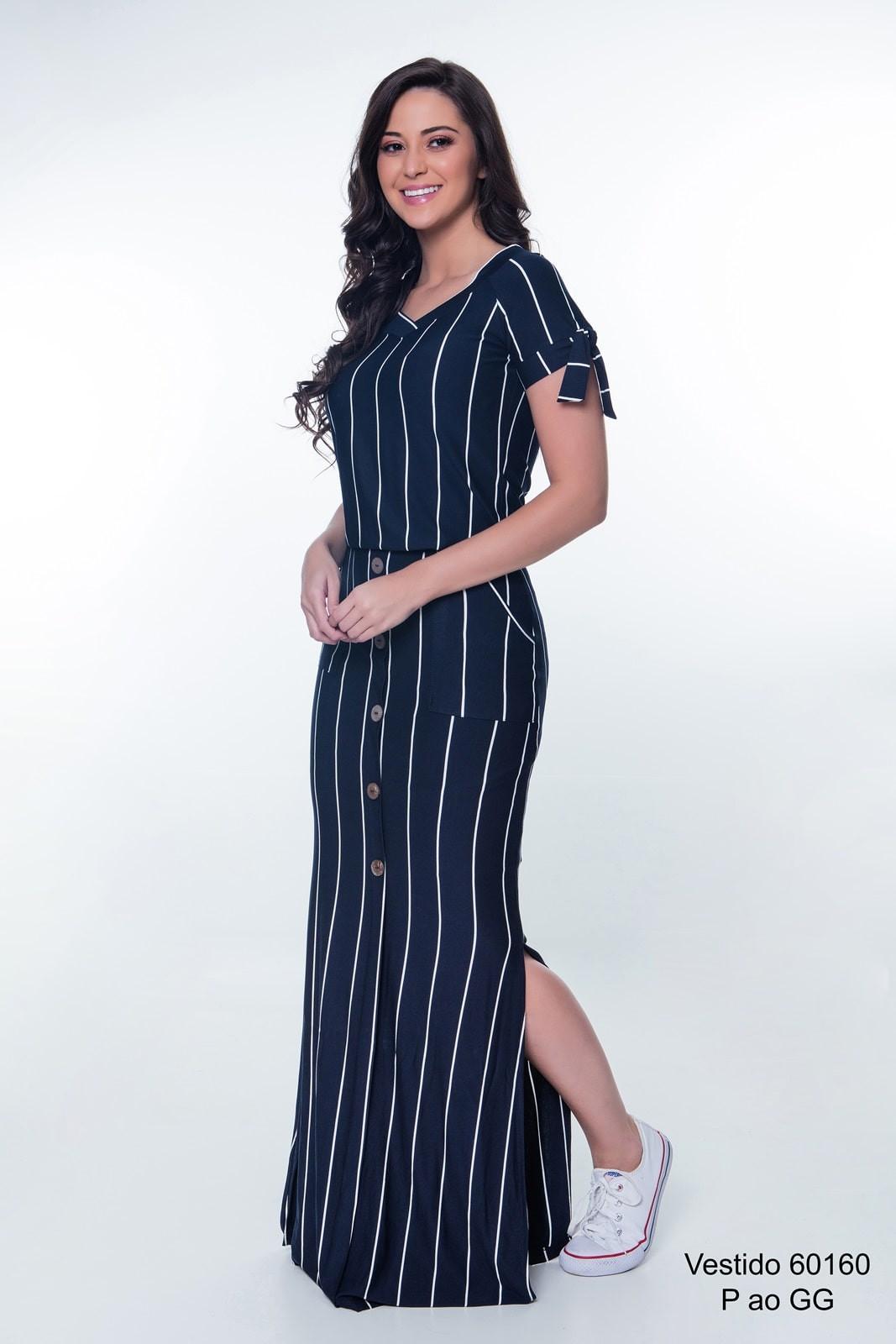 3ac70517d Vestido Longo Listrado Azul Hapuk