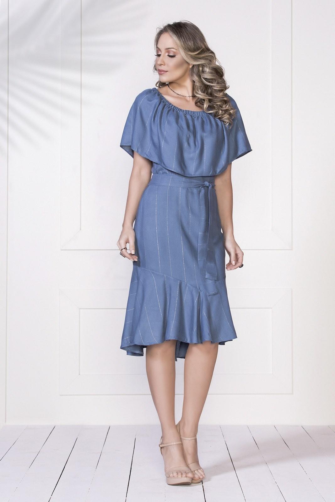 5130a639b7 Vestido Midi Stella Azul Fasciniu's
