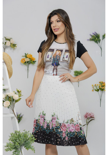 Saia Plissada Floral Black Victoria's Princess Primavera/ Verão 2022