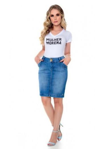 Saia Jeans com Detalhe no Bolso Mulher Morena Ouono/Inverno 2021