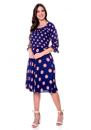 Vestido Melinda Poá Azul Hapuk Primavera/Verão 2022