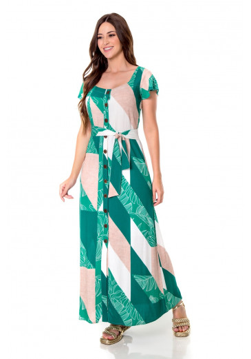 Vestido Luciana  Longo Verde  Hapuk Alto Verão 2022
