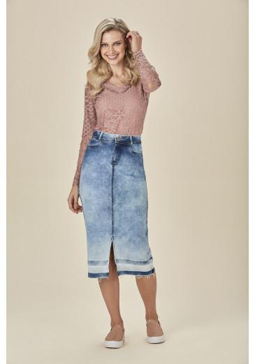 Saia Jeans Midi D'azul