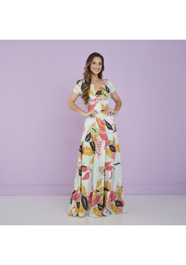 Vestido Mayara Longo Estampa Folhas Tatá Martello Alto Verão 2022
