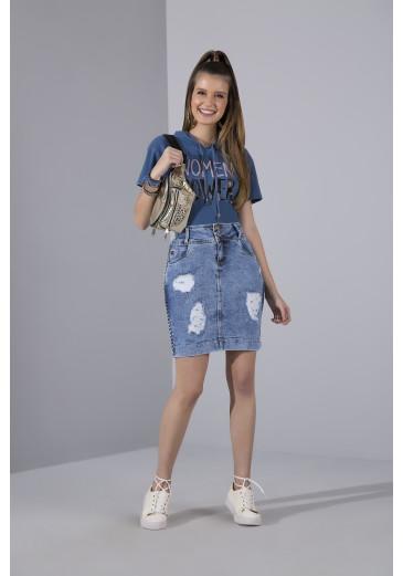 Saia Jeans com Detalhes em Trança Império Outono/Inverno 2021