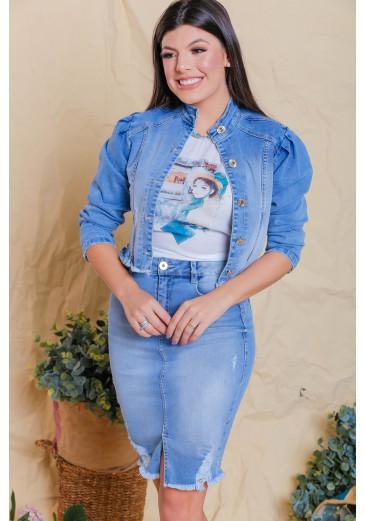 Jaqueta Jeans Estilo Cropped Victoria's Princess Outono/Inverno 2021