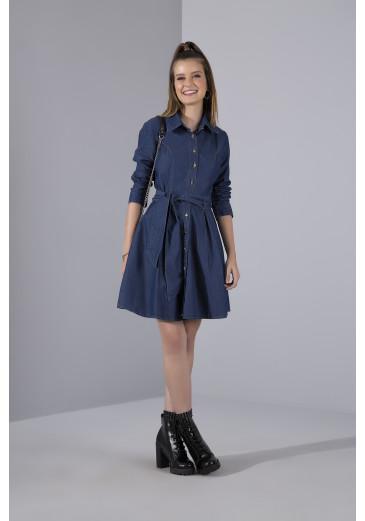 Vestido Jeans Faixa Império Outono/Inverno