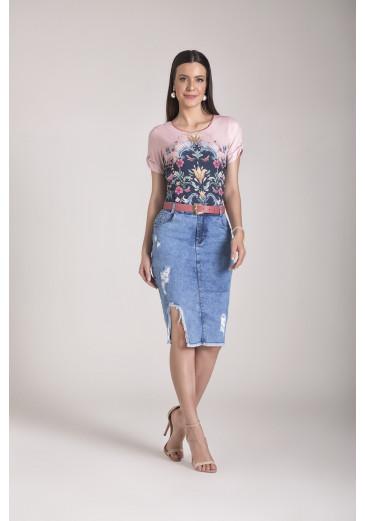 Saia Jeans Destroyed Laura Rosa Outono/Inverno 2021