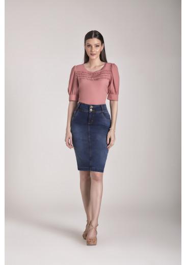 Saia Jeans com Bolsos Funcionais Laura Rosa Outono/Inverno 2021