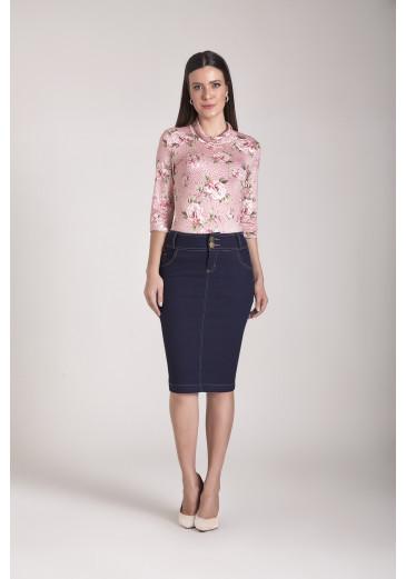 Saia Jeans Tradicional Laura Rosa Outono/Inverno 2021