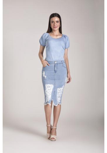 Saia Classic Jeans Claro Laura Rosa Outono/Inverno 2021