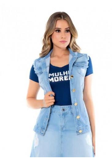 Colete Jeans Destroyed Mulher Morena