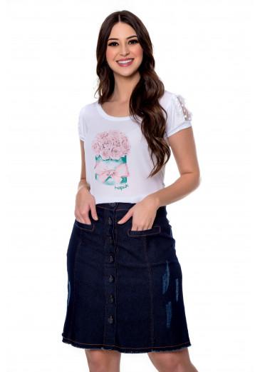 Saia Jeans com Botões Azul Hapuk