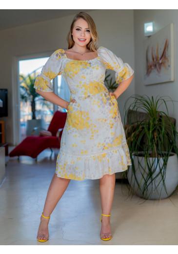Vestido Em Crepe Com Estampa Exclusiva Lastex Kauly Primavera/ Verão 2022