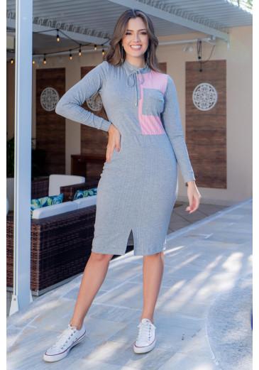 Vestido Canelado Cinza Luciana Pais Outono/Inverno 2021
