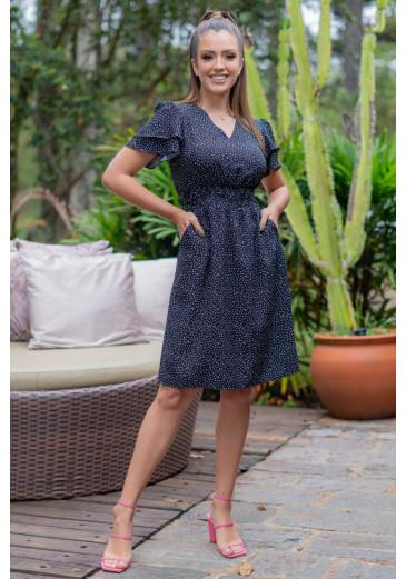 Vestido Em Crepe Poá Luciana Pais Primavera/ Verão 2022