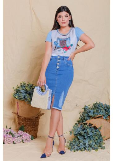 Saia Jeans com Botões Victoria's Princess