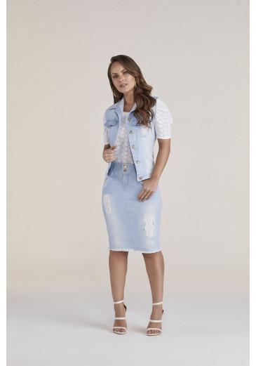 Saia Jeans com Detalhe em Lasie Titanium Jeans Primavera/Verão 2021