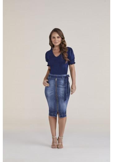 Saia Jeans com Zíper Titanium Jeans Primavera/Verão 2021