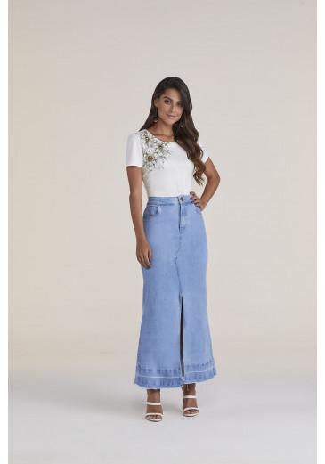 Saia Midi Jeans Titanium Jeans Primavera/verão 2021