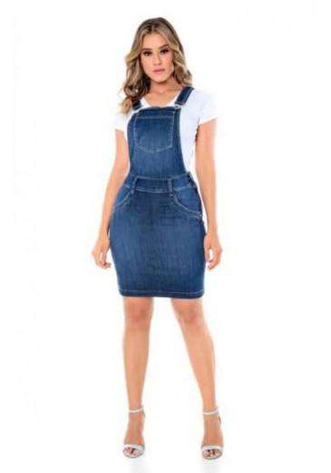 Salopete Jeans com Bolso Mulher Morena