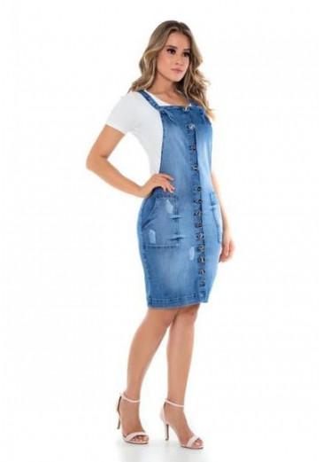 Salopete Jeans com Botões Mulher Morena