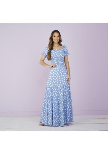 Vestido Lívia Longo Poá Azul Tatá Martello Primavera/Verão 2022