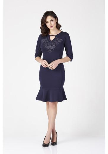 Vestido Detalhe na Gola D'azul Outono/Inverno 2019