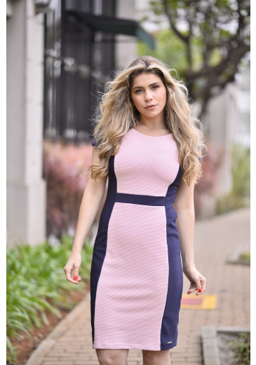 Vestido Bicolor Rosa Kauly Primavera/Verão 2019