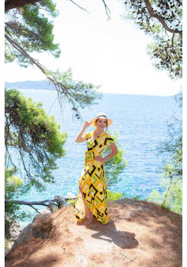 Vestido Longo Envelope Amarelo Boutique K