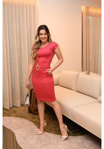 Vestido Malha Detalhe Fivela Rosa