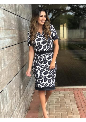 Vestido Print Preto Clara Rosa Outono/Inverno 2019