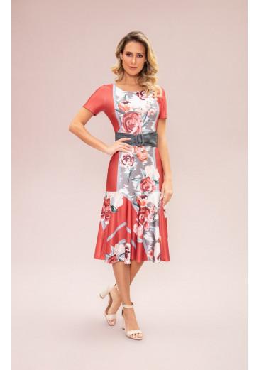 Vestido Sino Estampado Vermelho Fasciniu's