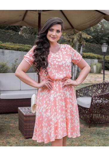 Vestido de Viscose Estampado Maria Amore Primavera/Verão 2021